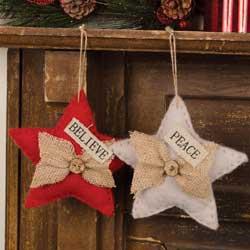 Glad Tidings Burlap Star Ornament