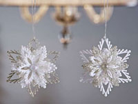 White and Silver Snowflake Ornament