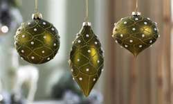 Green Glass Ornament with Pearl Beads