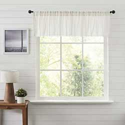 Tobacco Cloth Antique White Patchwork 72 inch Valance