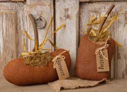 Burlap Harvest Blessing Pumpkins (Set of 2)