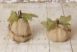 Burlap Natural Pumpkins (Set of 2)