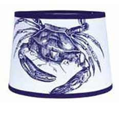 Crab Tapered Tapered Drum Lamp Shade - 14 inch (Cobalt Blue & White)