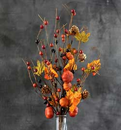 Pumpkin & Autumn Berry Floral Pick