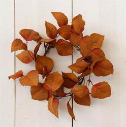 Cinnamon & Burgundy Fall Leaves Candle Ring