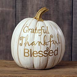 Grateful Thankful Blessed White Pumpkin