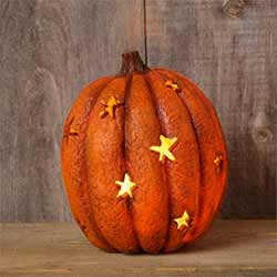 Lit Pumpkin with Star Cutouts - Larger