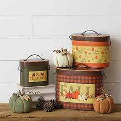 Fall, Gather, Thankful Nesting Tins