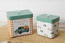 Happy Fall Metal Tins (Set of 2)