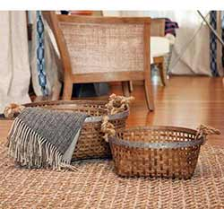 Round Woven Baskets (Set of 2)