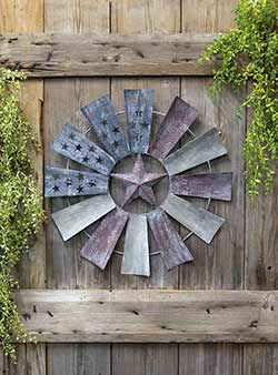Patriotic Distressed Metal Windmill