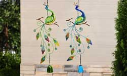 Peacock Metal and Glass Bells