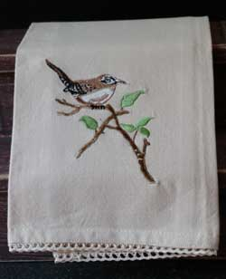 Wren Embroidered Dishtowel