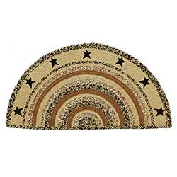 Kettle Grove Braided Rug with Stars - Half Circle