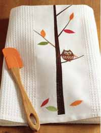 TAG Owl Embroidered Waffle Weave Dishtowel