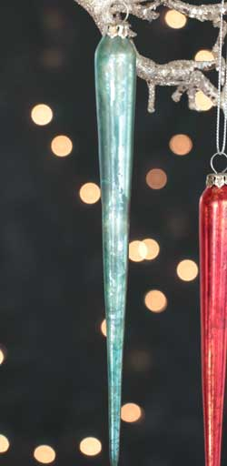 Large Mercury Glass Icicle Ornament - Aqua