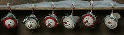Mini Warm N Cozy Snowhead Ornaments (Set of 6)