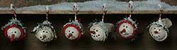 Mini Warm N Cozy Snowhead Ornaments (Set of 6)