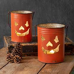 Jack O'Lantern Buckets (Set of 2)