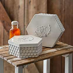 Bee Hexagon Nesting Tins (Set of 2)