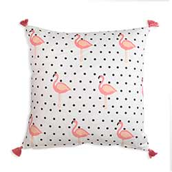 Flamingo Polka Dot Throw Pillow