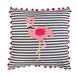Flamingo Striped Throw Pillow
