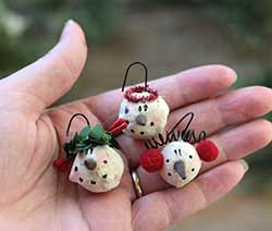 Mini Snowman Head Ornaments (Set of 3)