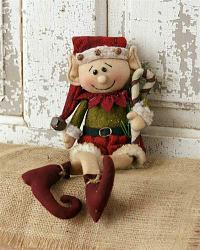 Elf Doll Holding Candy Cane