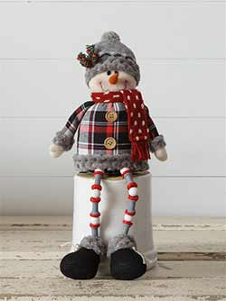 Cozy Plaid Button Leg Snowman Doll