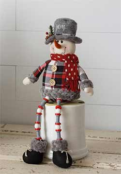Cozy Plaid Joy Button Leg Snowman Doll