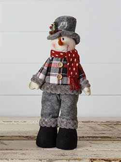 Cozy Plaid Joy Snowman Doll