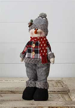 Cozy Plaid Snowman Doll