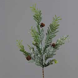 Frosted Winter Evergreen Branch with Mini Cones