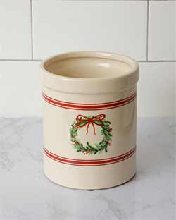 Grain Stripe Christmas Pottery Crock