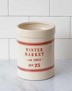 Winter Market Grain Stripe Pottery Crock