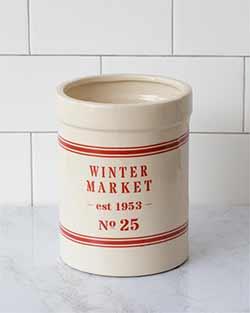Winter Market Grain Stripe Pottery Crock