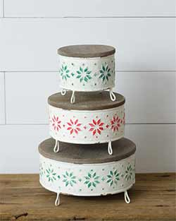 Fair Isle Christmas Decorative Stands (Set of 3)