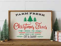 Farm Fresh Christmas Trees Embroidered Sign