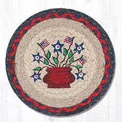 Americana Bouquet Braided Tablemat - Round (10 inch)