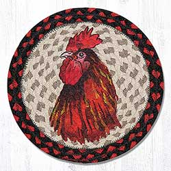 Rooster Braided Tablemat - Round (10 inch)