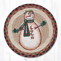Moon & Star Snowman Braided Tablemat - Round (10 inch)