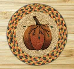 Pumpkin Braided Jute Tablemat - Round (10 inch)