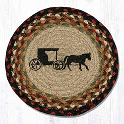Amish Buggy Braided Tablemat - Round (10 inch)