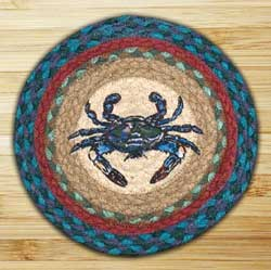 Blue Crab Braided Tablemat - Round (10 inch)