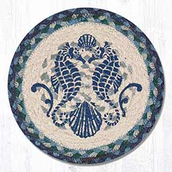 Shell Coast Seahorse Braided Tablemat - Round (10 inch)