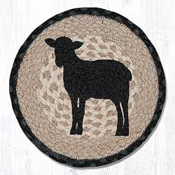 Sheep Silhouette Braided Tablemat - Round (10 inch)