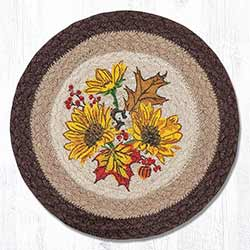 Autumn Sunflower Braided Tablemat - Round (10 inch)