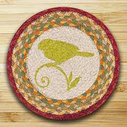 Green Bird Braided Tablemat - Round (10 inch)