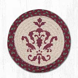 Burgundy Damask Braided Tablemat - Round (10 inch)