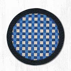 Blue Gingham Braided Tablemat - Round (10 inch)